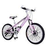 LGZL Phoenix Bicicletta per bambini 6-10 anni Maschio e Femmina Off-Road Doppio Disco Freno Ammortizzatore Velocità Variabile All in One Wheel Student Mountain Bike Rosa (Ruota Fortune)