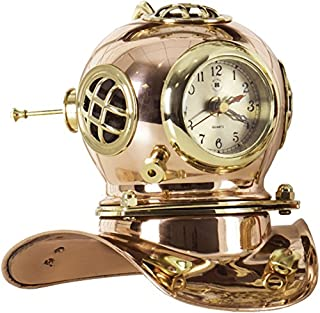 Bey-Berk International Copper and Brass Divers Helmet Clock