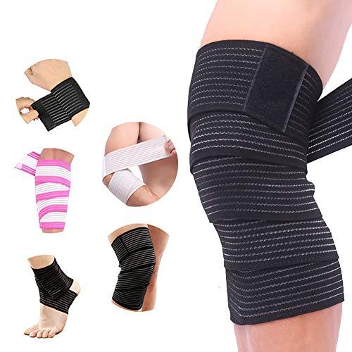 Beito 1pc Elastic Bandage Wrap Compression Rolls Latex-Frei Bandage mit Klettverschluss Perfektem Kompression Wrap für Varizen verstauchten Knöchel Schwarz