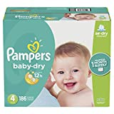 Diapers Size 4, 186 Count - Pampers Baby Dry Disposable Baby Diapers, ONE MONTH SUPPLY