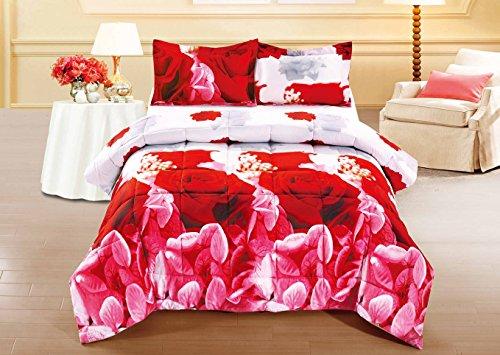 BEDnLINENS 3 Piece Set Box Stitched Red Rose Prints 3D Comforter Set (Y03) (Queen)