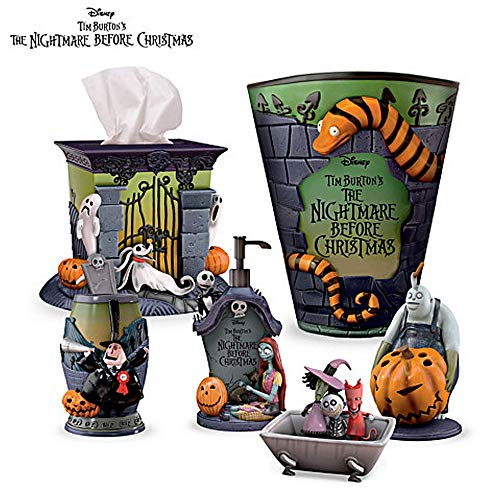The Nightmare Before Christmas Bathroom Full Set Exclusively from The Bradford Exchange | Disney Officially Authorized Bath Ensemble Collection | Limited Edition Nightmare Before Christmas Decorations
