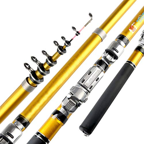 xinxinchaoshi Fishing Rod Kit Portable Sea Fishing Rod Pole Carbon Fiber Telescopic Spinning Reel Fish Tackle Telescopic Fishing Rod Pole (Color : YELLOW, Length : 2.1 m)