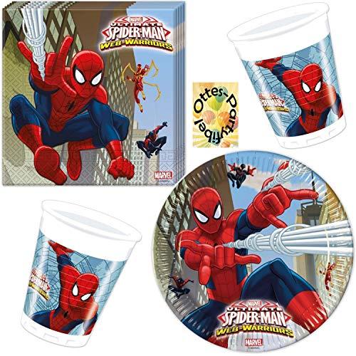 Spiderman Ultimate Web Warriors Teller Becher Servietten 36-teiliges Partyset Spinnenman für 8 Kinder
