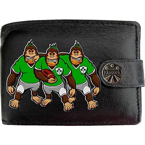 Irland Rugby Gorilla Irischer Kleeblatt Karikatur Shirt Bild auf KLASSEK Marken Herren Geldbörse Portemonnaie Echtes Leder RFID Schutz mit Münzfach Zubehör Geschenk mit Metall Box