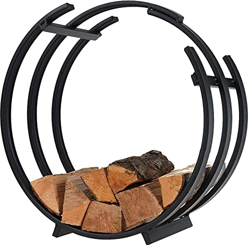idooka Log Basket Storage - Outdoor Chiminea for Garden/Indoor Fireplace Accessories - Round/Vintage Ring/Square Log Basket - Fire Wood Black Companion Set for Large Fire Pit Logs for Wood Burner