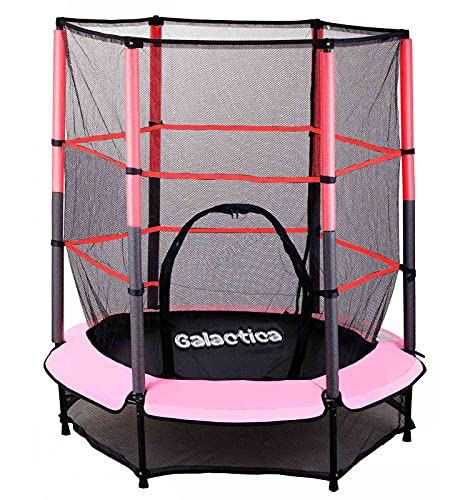WestWood GALACTICA NEW Mini Trampoline 45FT 55 with Safety Net Enclosure Indoor Outdoor Childrens Activity Junior Trampoline Pink