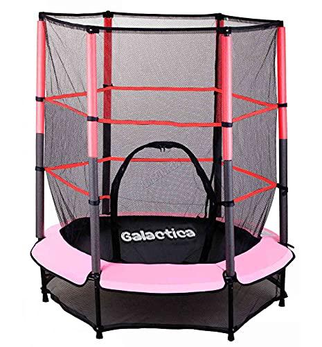 westwood galactica new mini trampoline | 4.5ft 55' with safety net enclosure | indoor outdoor children's activity junior trampoline - pink