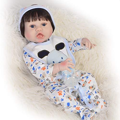 """ASDAD Bebes Reborn Menino Full Vinyl Silicone Reborn Baby Dolls 23""""57Cm Recién Nacido Niño Niño Muñeca Chil Boneca Reborn,Brown Eyes"""