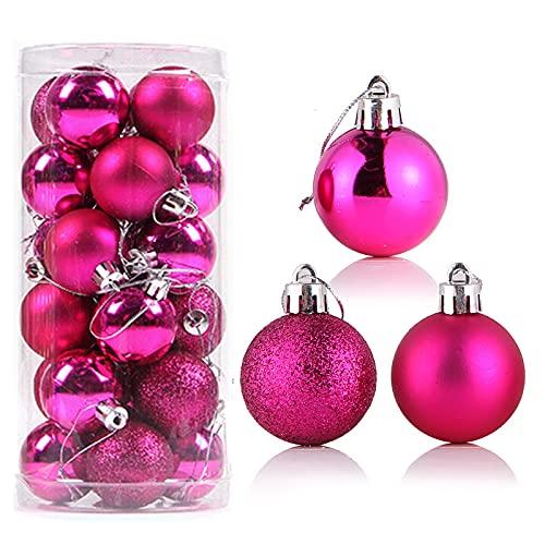 24 palline di Natale, 3 piccole palline infrangibili per albero di Natale, con anello da appendere, per albero di Natale, decorazione per la casa, matrimoni, compleanni, feste, 40 mm, rosa