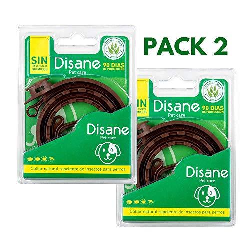 DISANE Pack 2 Collares Antiparásitos para Perros 100% Naturales | 6 Meses de Protección | Repele Pulgas, Garrapatas, Piojos y Mosquitos (Lehismaniosis) | Collar Antipulgas Perro y Cachorro