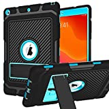Hocase iPad 8th Generation Case, iPad 7th Generation Case, iPad 10.2 2020/2019 Case, Shockproof Heavy Duty Rugged Protective Case with Kickstand for iPad 10.2-inch 2020/2019 - Black/Blue
