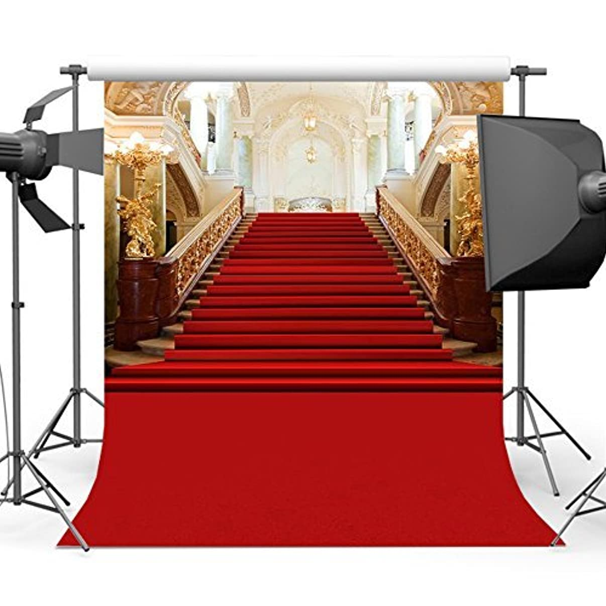 Mehofoto Red Carpet Backdrop Lighting Stage Photo Background for Wedding Birthday Parties 7x10 Professional Seamless Polyester Backdrops for Photographers