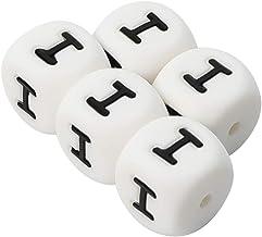 Letras del Alfabeto Granos de Silicona a Granel DIY Haga su Propio Kit Nombre Personalizado 12mm Mix BPA Free Cube Baby Dentici/ón Masticar 104 Pcs