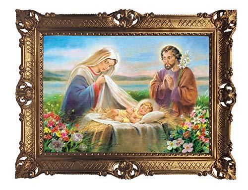 Lnxp La Sacra Famiglia - Cuadro de arte (90 x 70 cm), diseño barroco