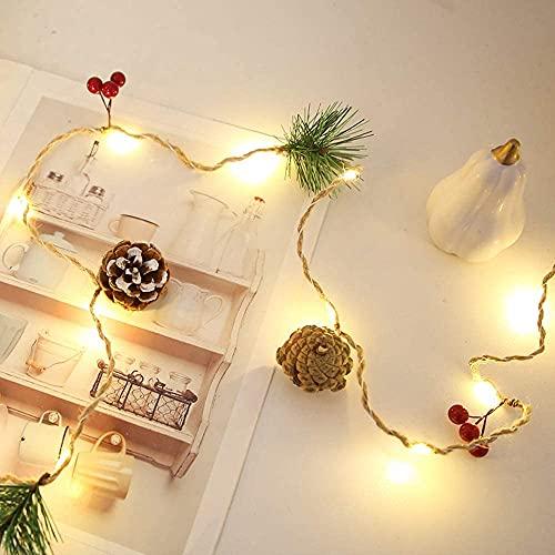 decorazioni natalizie eleganti Luci di Corde in Rattan pigne Fai da Te Luci a luci di luci della Decorazione GUIDATO Luci Natalizie Ornamenti for Vacanze Ins. Style Girls Bedroom Fairy Lights Elegante semplicità Lampada Corda WULO