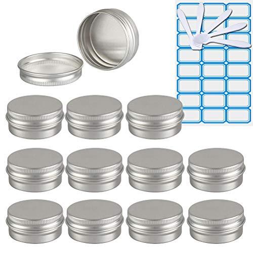 TIANZD 12 Piezas Bote de Aluminio con Tapa Rosca - 15ml, Plata Tarros de Aluminio Vacíos, Cosmetica cremas, Almacenar Pequeñas Cosas, Velas - 1x Etiqueta y 5X Mini Espátula