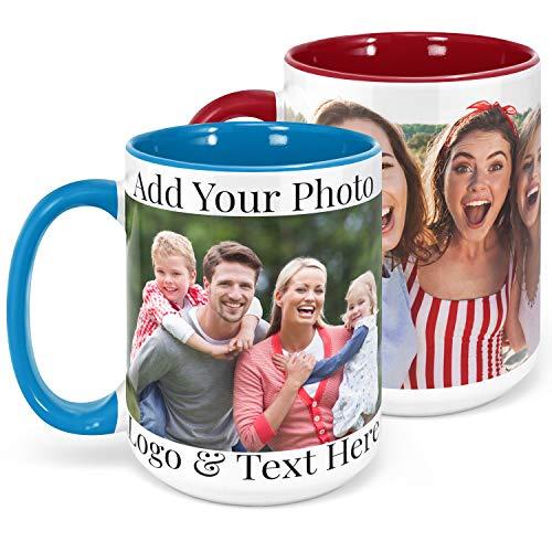 Custom Photo Coffee Mug, Sky Blue, 15 oz Personalized Mug w Picture,...