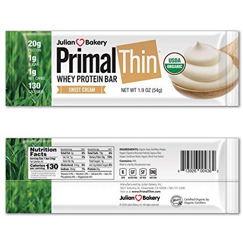 Julian Bakery - PrimalThin Protein Bar Sweet Cream - 12 Bars
