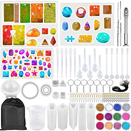 Zsroot Resin Gießharz Silikonform Kit, Epoxidharz Formen Set, Schmuck Selber Machen Set für Anhänger Schmuck Halskette Ohrringe