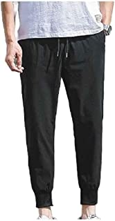 CRYYU Mens Big and Tall Loose Relaxed Fit Pants Athletic Summer Slim-Tapered