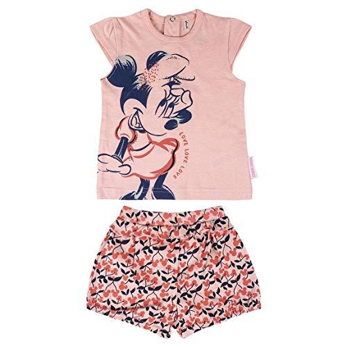 Cerdá Conjunto Bebe Niña Verano de Minnie Mouse Disney - 9 Meses - Camiseta + Pantalon de Algodon Juego Cortos, Rosa, Bebé-Niñas