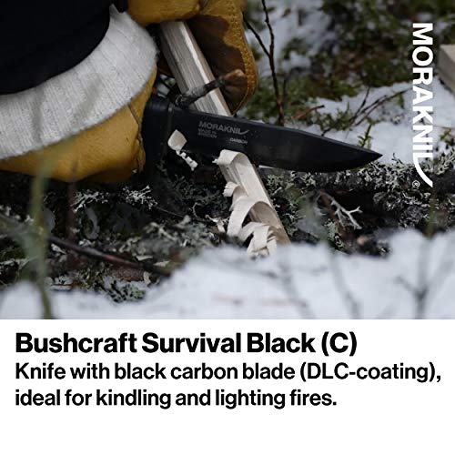 Morakniv Bushcraft Carbon Steel Survival Knife with Fire Starter and Sheath, 4.3-Inch, Black