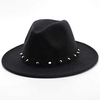 2019 Mens Womens Hats Womens Fashion Unisex Wool Polyester Fedora Hat for Women with Punk Rivet Outdoor Travel Church Casual Hat Wool Cloche Trilby Hat Adjused Size Soft