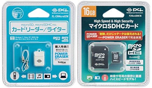 PLANEX microSDカードリーダ&ライター(白)+MicroSDHC16GBカードセット PLCRMicroUW16