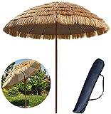 Parasol de Jardin Imitation de Paille Extérieur 250 cm Patio Bouton-Poussoir Terrasse Plage Cour sans Base