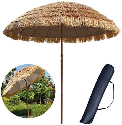 ombrellone da Giardino Ombrello in Paglia Finta Esterno 250 Cm Patio Pulsante Terrazza Spiaggia Cortile No Base