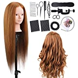 Training Hairdressing Head, ALUOHA 26 inches 60% Real Hair Professional Cosmetology Mannequin Manikin Dolls Head, Styling Model for Hairdresser Practice with Makeup Function, Clamp and Braid Set Style