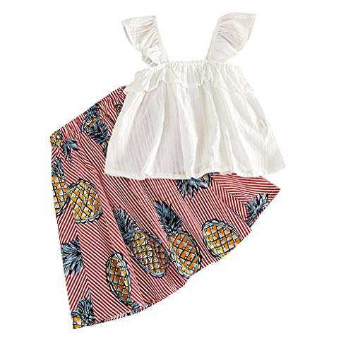 Julhold peuters baby meisjes outfits kleding ananas mouwloos T-shirt vest + ananas print rock set zomer