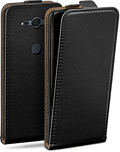 moex Flip Hülle für Sony Xperia XZ2 Compact - Hülle klappbar, 360 Grad Klapphülle aus Vegan Leder, Handytasche mit vertikaler Klappe, magnetisch - Schwarz