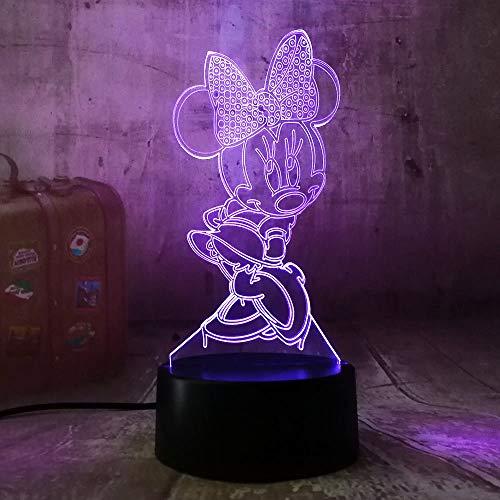 Luz nocturna 3D con ilusión LED, con dibujos animados, Minnie Mouse, luz nocturna RGB 7 cambio de color, mando a distancia USB, lámpara de mesa para niños, regalo de Navidad