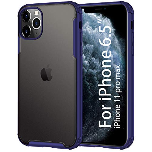 Uxinuo for Apple iPhone 11 Pro Max case (2019), Shockproof Protective Cover for 6.5 inch with Heavy Duty Protection with 11 Pro Max Case, Translucent Matte Black