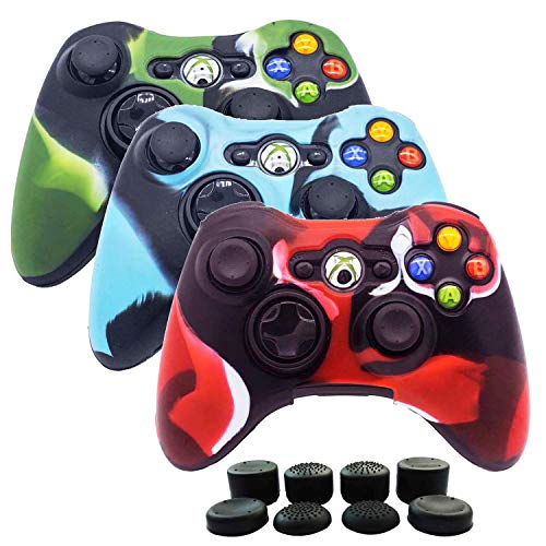 BRHE 3 Pack Protective Skin Cover Soft Silicone Camouflage Protector Case Accessories Set for Xbox 360 Controller Wireless/Wired Gamepad Joystick with 8 FPS Thumb Grips Caps(Red Blue Green)
