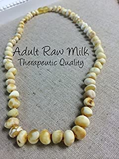 18 19 or 20 Inch Raw Unpolished Milk Baltic Amber Necklace arthritis sciatica carpal tunnel head ache migraine back pain autoimmune adult Certificated Authentic (20 Inch)