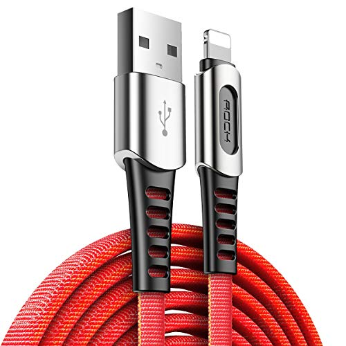 GKXAZ Zinc Alloy USB Data Cable For iPhone X XR XS Max XS 8 7 iPad Nylon Braided Data Sync Phone USB Charging Cable for lighting Cord (Color : Red, Size : 100cm)