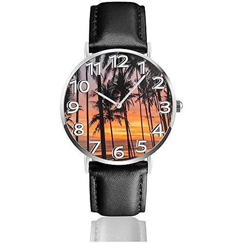 Pasut Beach Bali Die Black Sand Beach Uhren Durable Pu Leder Armbanduhr Life Silence Quarzuhr Edelstahl als Geburtstagsgeschenk
