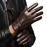 Men's Warm Lambskin Genuine Leather Gloves For Men Winter Driving Brown S