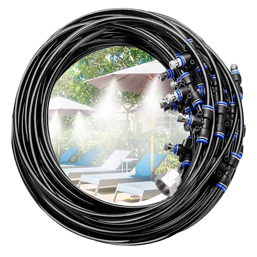 misters Tevigo Misting Cooling System, 66FT Misting System Outdoor Misters Automatic Plant Watering System Misters Cooling Backyard Patio Garden Lawn Greenhouse