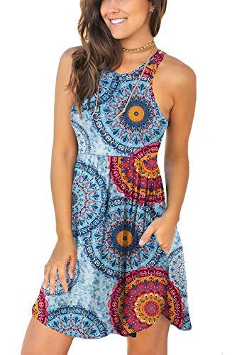 LONGYUAN Damen Sommerkleid, ärmellos, lässig, Swing-Kleid, elastisch, mit Taschen - - Klein