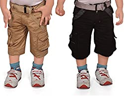 ADBUCKS Boys Cotton Cargo Shorts (Pack of 2)