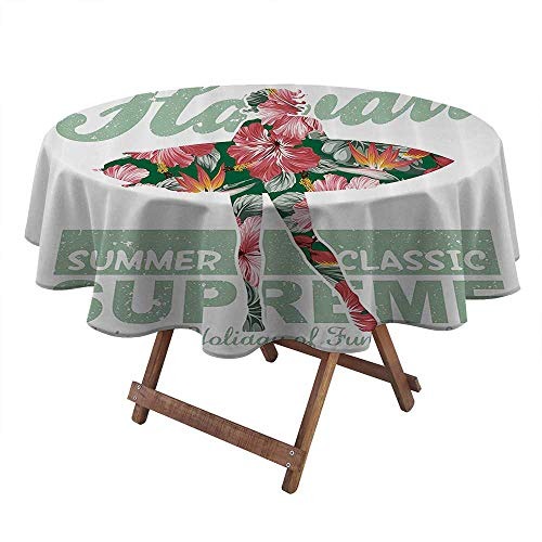 Philip C. Williams Fiesta Tablecloth Hawaiian Decorations Collection Tropical Hawaii Hibiscus Surfing Girl Silhouette Surfboard Retro Themed Artprint Round Table Cover Picnic Table Cloths Coral Green