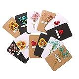 12 tarjetas de felicitación de flores secas para cumpleaños, tarjeta pequeña hecha a mano, tarjeta de agradecimiento, tarjeta de felicitación, bendición de las fiestas, flores secas