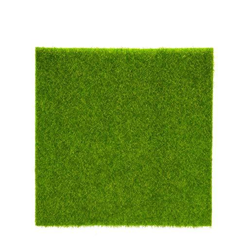 Yosoo Alfombra de césped artificial, césped de plástico para interior y exterior, césped sintético, micro paisaje, decoración del hogar (15 x 15 cm)
