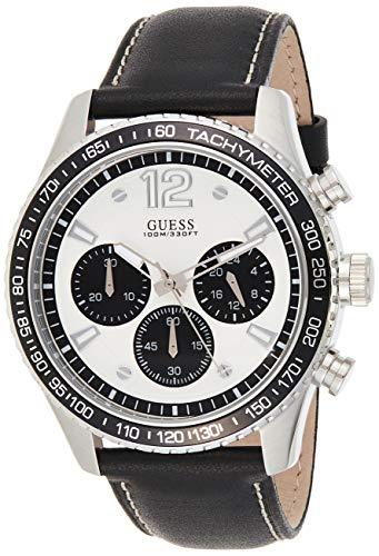 GUESS Fleet Herren-Armbanduhr 44mm Armband Leder Schwarz Quarz Analog W0970G4