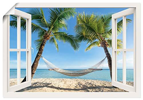Artland Poster Kunstdruck Wandposter Bild ohne Rahmen 70x50 cm Fensterblick Fenster Strand Karibik Meer Palmen Hängematte Südsee T4TQ
