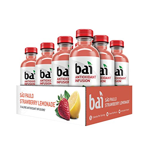 Bai Flavored Water, São Paulo Strawberry Lemonade, Antioxidant Infused Drinks, 18 Fluid Ounce Bottles, 12 count